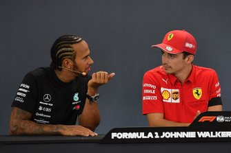 Lewis Hamilton, Mercedes AMG F1, 2nd position, and Charles Leclerc, Ferrari, 1st position, in the Press Conference