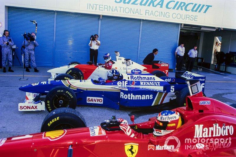 Damon Hill, Williams, Michael Schumacher, Ferrari, Mika Hakkinen, McLaren, al GP del Giappone del 1996