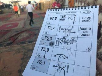 Nota del roadbook del accidente de Fernando Alonso en el Rally de Marruecos