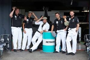 Mercedes AMG F1 team members dressed in 1950's clothing to celebrate Mercedes 125th year in Motorsport
