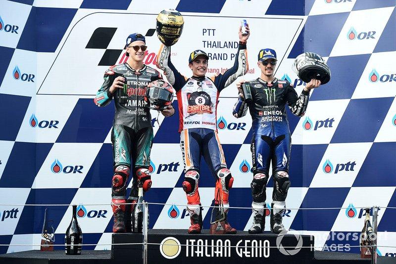 Podio: 1º Marc Márquez, 2º Fabio Quartararo, 3º Maverick Vinales