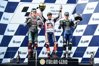 Podium: race winner Marc Marquez, Repsol Honda Team, second place Fabio Quartararo, Petronas Yamaha SRT, third place Maverick Vinales, Yamaha Factory Racing