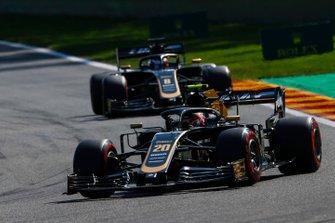 Kevin Magnussen, Haas F1 Team VF-19, leads Romain Grosjean, Haas F1 Team VF-19