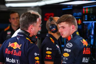 Christian Horner, teambaas Red Bull Racing, en Max Verstappen, Red Bull Racing
