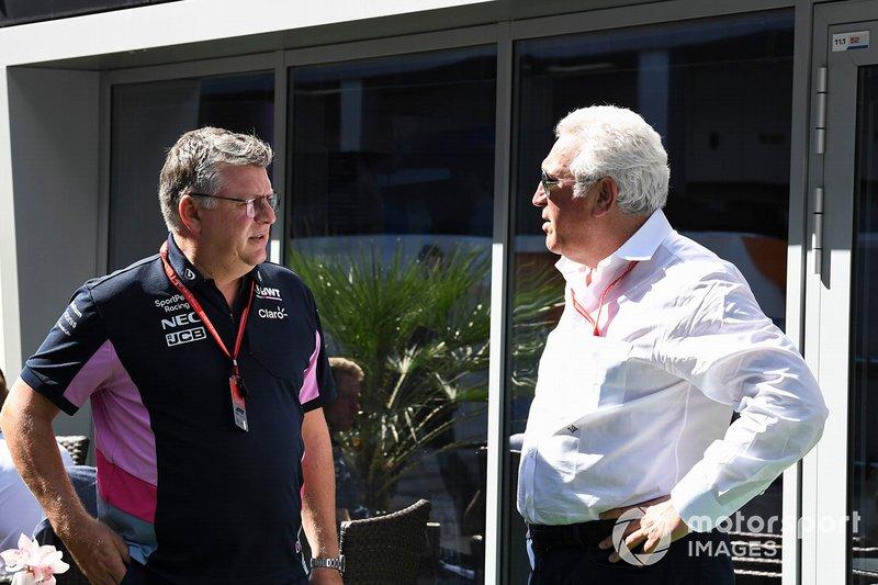 Otmar Szafnauer, Team Principal e CEO, Racing Point, e Lawrence Stroll