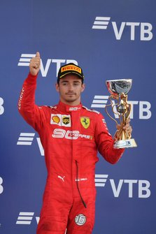 Charles Leclerc, Ferrari, 3rd position, with his trophy