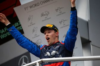 Daniil Kvyat, Toro Rosso, 3rd position, celebrates on the podium