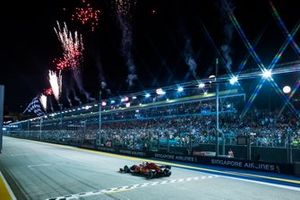 Sebastian Vettel, Ferrari SF90, 1st position, takes the chequered flag