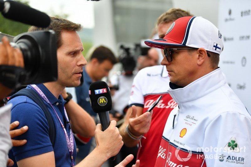 Kimi Raikkonen, Alfa Romeo Racing, talks to the media