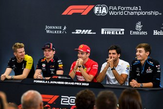 Nico Hulkenberg, Renault F1 Team, Max Verstappen, Red Bull Racing, Charles Leclerc, Ferrari, Carlos Sainz Jr., McLaren and George Russell, Williams Racing in the Press Conference