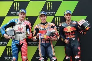 Pole sitter Marc Marquez, Repsol Honda Team, second place Jack Miller, Pramac Racing, third place Johann Zarco, Red Bull KTM Factory Racing