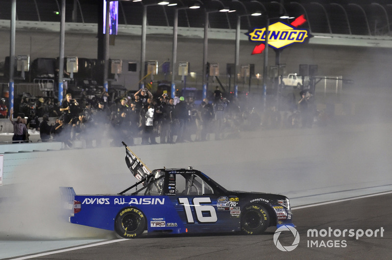 Brett Moffitt, Hattori Racing Enterprises, Toyota Tundra AISIN Group celebrates his Championship win