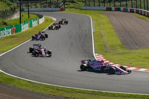 Sergio Perez, Racing Point Force India VJM11 leads Esteban Ocon, Racing Point Force India VJM11