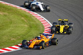 Фернандо Алонсо, McLaren MCL33, Нико Хюлькенберг, Renault Sport F1 Team RS18, и Лэнс Стролл, Williams FW41