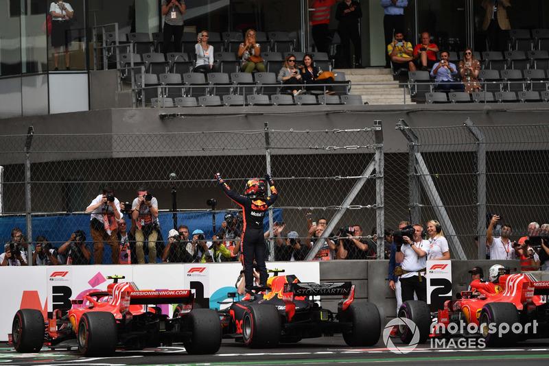 Race winner Max Verstappen, Red Bull Racing RB14 celebrates in Parc Ferme