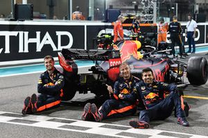 Red Bull Racing mechanics with Red Bull Racing RB14 in Parc Ferme