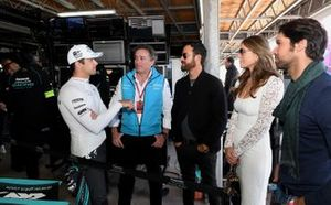 Nelson Piquet Jr., Jaguar Racing, talks to Alejandro Agag, CEO, Formula E, Actors Elizabeth Hurley, Justin Theroux, Bullfighter Cayetano Rivera Ordóñez