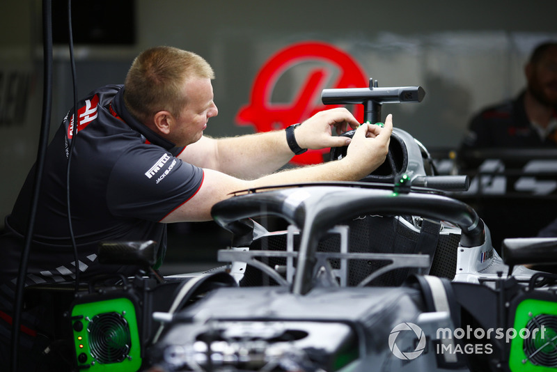 A Haas team member at work