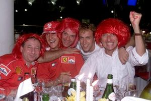 Jean Todt, Michael Schumacher, Rubens Barrichello, Luca Badoer and Luca di Montezemolo celebrate another Ferrari world championship