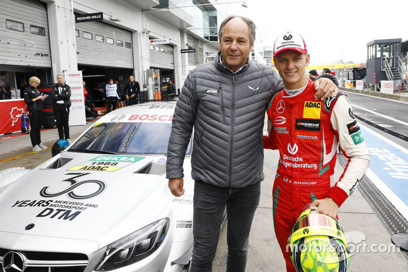 Mick Schumacher in the Mercedes-AMG C63 DTM with Gerhard Berger, ITR Chairman