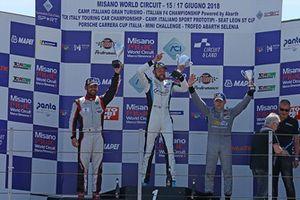 Podio TCR gara 2, Jurgen Schmarl (Target Srl,Honda Civic TCR #11), Luigi Ferrara (42 Racing SA, Alfa Romeo Giulietta TCR #42), Massimiliano Mugelli (Honda Civic TCR #3)