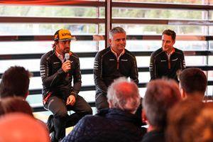 Fernando Alonso, McLaren, Gil de Ferrarn, Sporting Director, McLaren, and Stoffel Vandoorne, McLaren, speak t the media