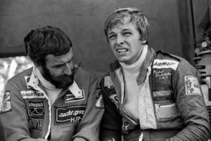 Harald Ertl, ATS talks with his team mate Michael Bleekemolen
