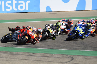 Хорхе Лоренсо, Ducati Team, падає позаду Марка Маркеса, Repsol Honda Team
