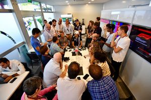 Esteban Ocon, Racing Point Force India F1 Team talks with the media