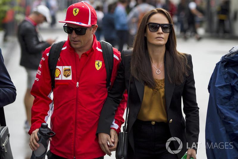 Kimi Raikkonen, Ferrari con sua moglie Minttu Virtanen,