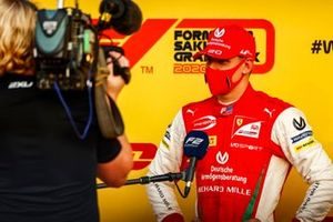 Mick Schumacher, Prema Racing talks to the press after winning the championship