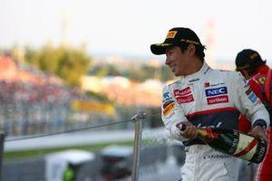 Third place Kamui Kobayashi, Sauber C31 celebrates