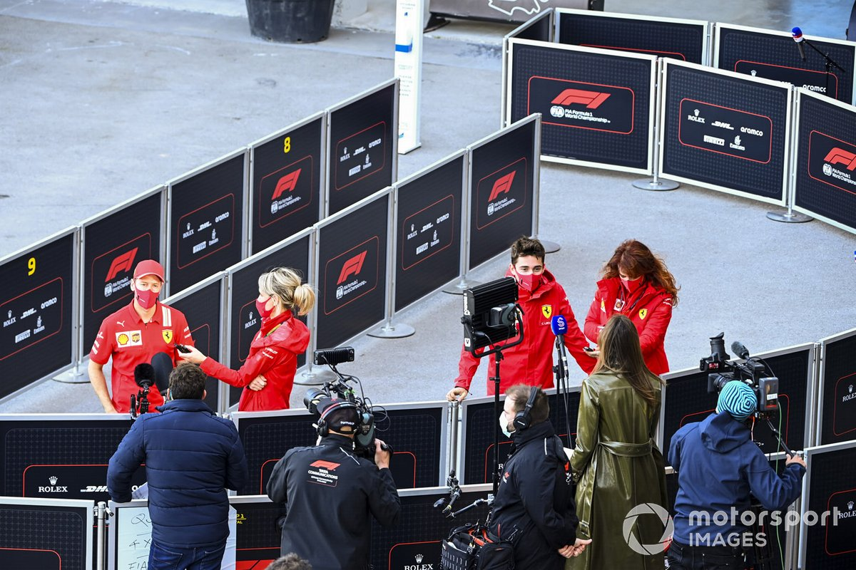 Sebastian Vettel, Ferrari e Charles Leclerc, Ferrari parlano ai media