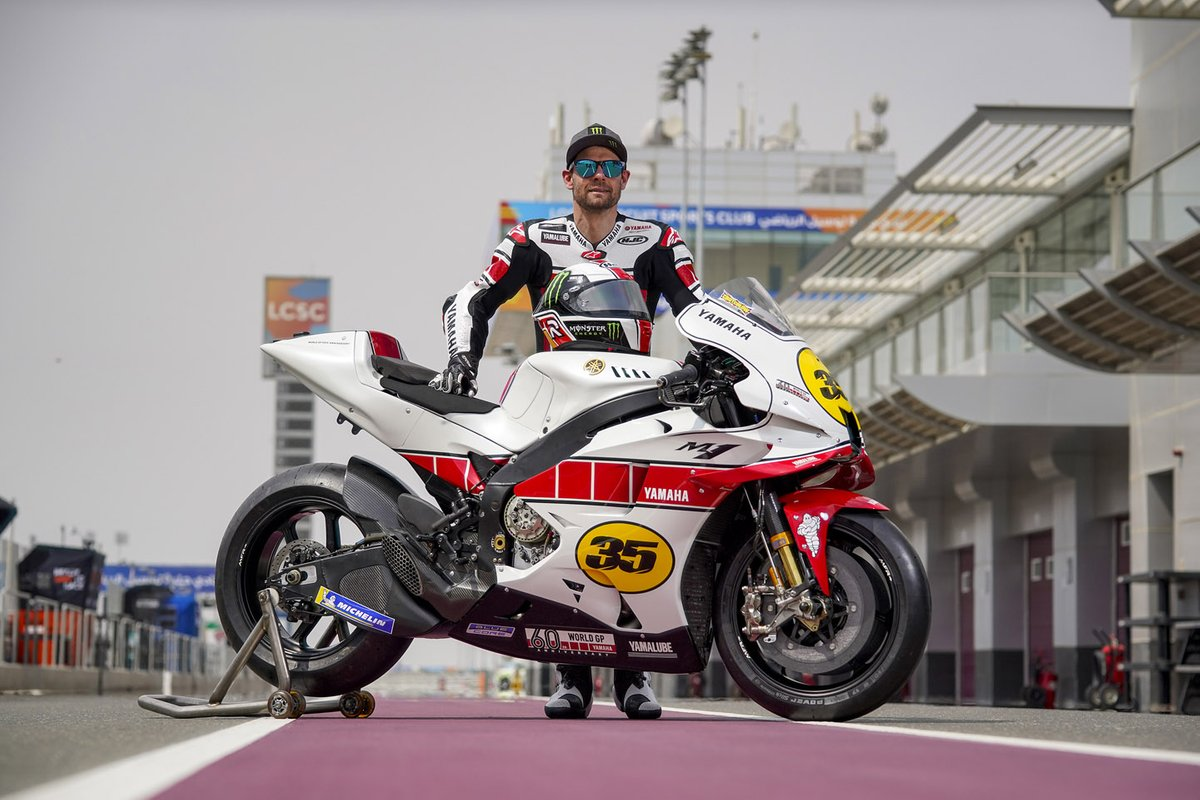Cal Crutchlow, Yamaha Factory Racing MotoGP Test Team rider with the Yamaha YZR-M1, 60th Grand Prix Racing Anniversary livery