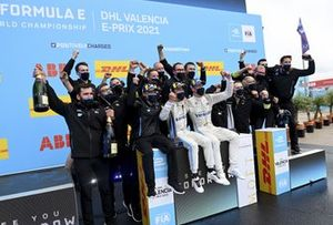 Nyck de Vries, Mercedes-Benz EQ, 1st position, Stoffel Vandoorne, Mercedes-Benz EQ, 3rd position, the Mercedes Benz EQ team celebrate on the podium