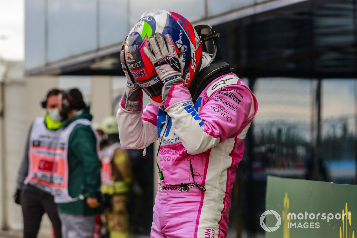 Sergio Perez, Racing Point, 2°posto, nel Parco Chiuso