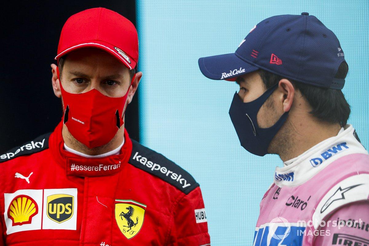 Sebastian Vettel, Ferrari, 3°posto, e Sergio Perez, Racing Point, 2° posto