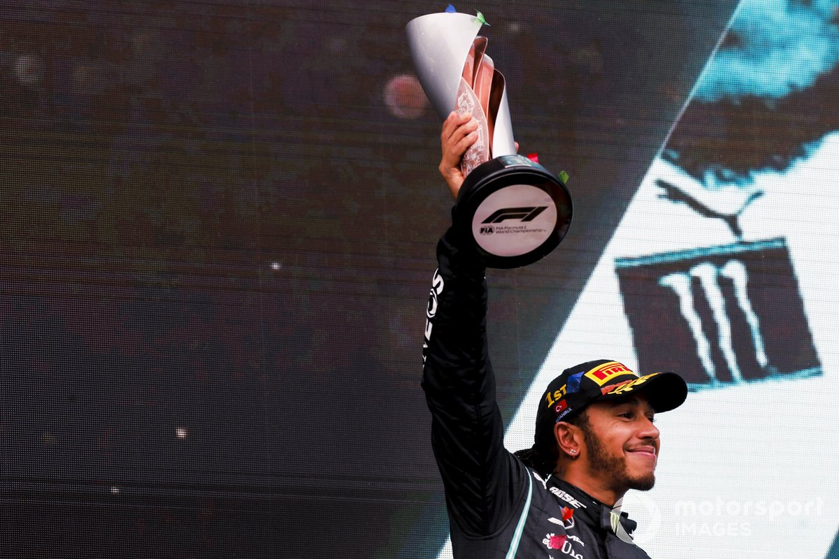 Seven times world drivers champion Lewis Hamilton, Mercedes-AMG F1, 1st position, lifts his trophy on the podium