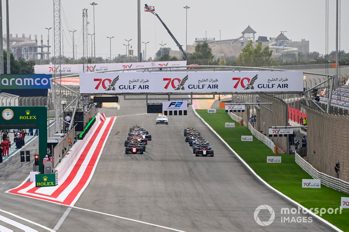Callum Ilott, UNI-Virtuosi, Felipe Drugovich, MP Motorsport, Guanyu Zhou, UNI-Virtuosi y Marcus Armstrong, ART Grand Prix