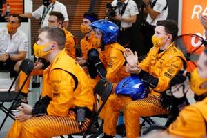 The McLaren pit crew in the pit lane