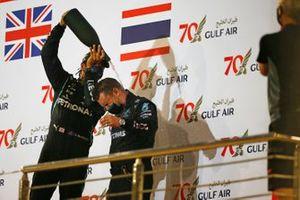 Lewis Hamilton, Mercedes F1 W11, celebrates on the podium