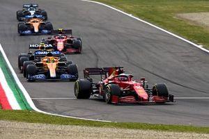 Charles Leclerc, Ferrari SF21, Lando Norris, McLaren MCL35M, Sergio Perez, Red Bull Racing RB16B, Carlos Sainz Jr., Ferrari SF21, Daniel Ricciardo, McLaren MCL35M, and Lance Stroll, Aston Martin AMR21