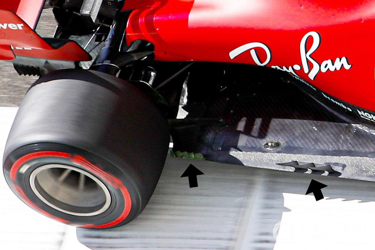 Detalle del fondo plano del coche de Charles Leclerc, Ferrari SF1000