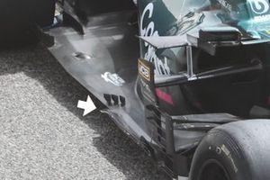 Gros plan sur le fond plat de l'Aston Martin AMR21