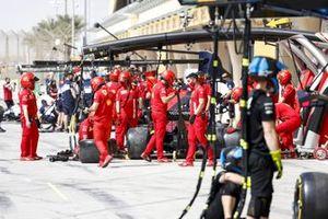 Pit stop practice outside the Ferrari garage