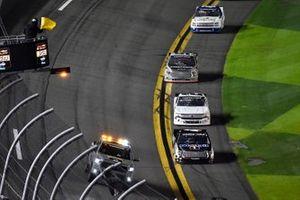 John Hunter Nemechek, Kyle Busch Motorsports, Toyota Tundra Mobil 1 takes the caution f;ag.