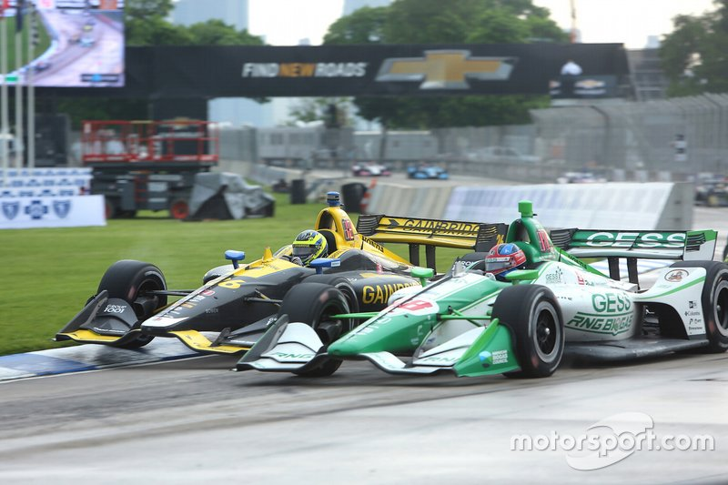 Zach Veach, Andretti Autosport Honda; Colton Herta, Harding Steinbrenner Racing Honda
