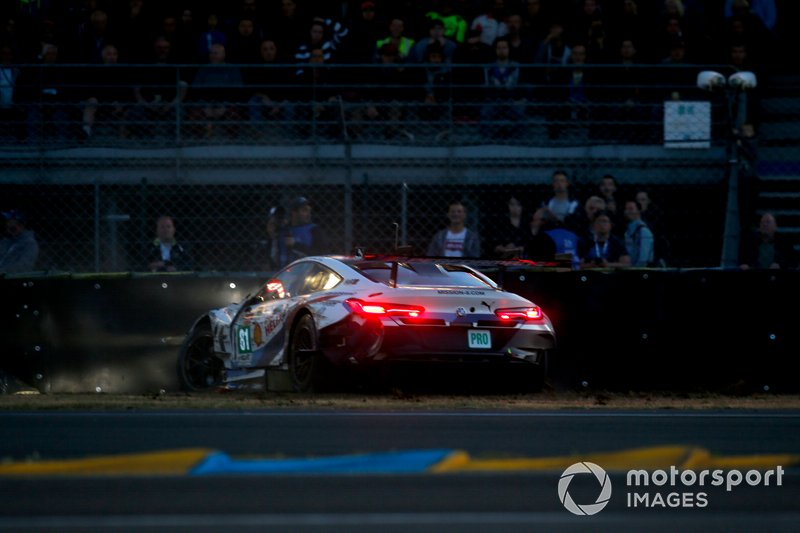 L'incidente della #81 BMW Team MTEK BMW M8 GTE: Martin Tomczyk, Nicky Catsburg, Philipp Eng