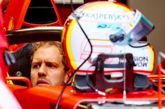 Sebastian Vettel, Ferrari SF90 sits in his cockpit