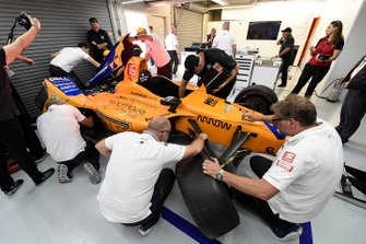 The crashed car of Fernando Alonso